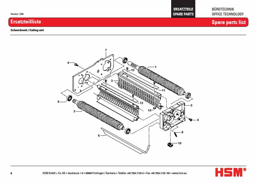 Shredder Replacement Parts : Hsm classic sc paper shredder oem bearing plate