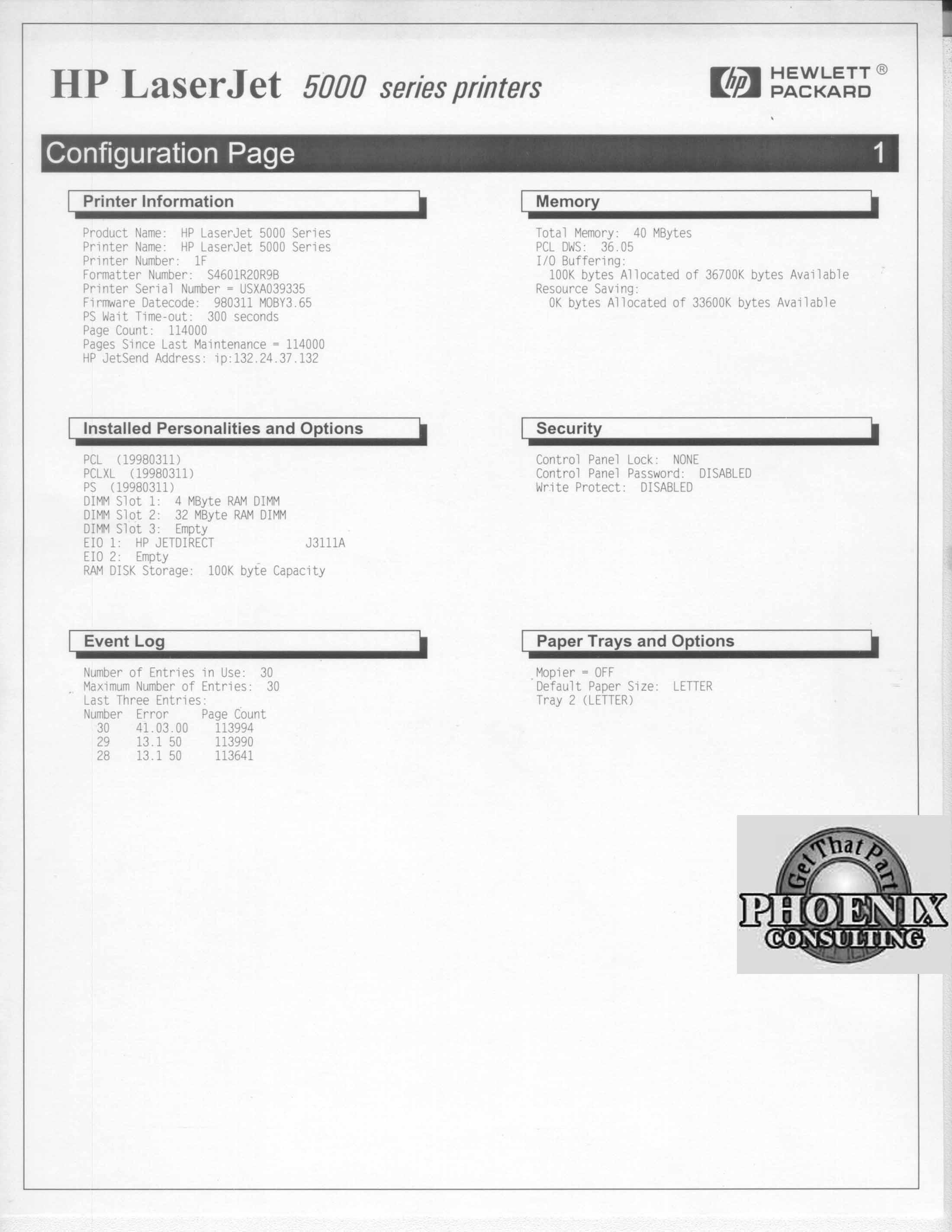 HP LaserJet 5000 5000N C4112A TABLOID NETWORK PRINTER