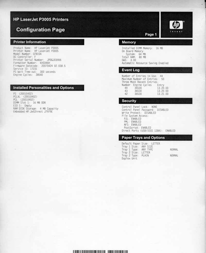 HP LaserJet P3005 P3005DN Duplex Network Printer Q7815A