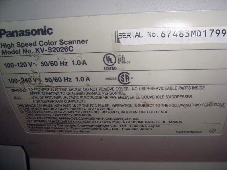 PANASONIC HIGH SPEED COLOR SCANNER KV-S2026C WINDOWS 10 DRIVER DOWNLOAD