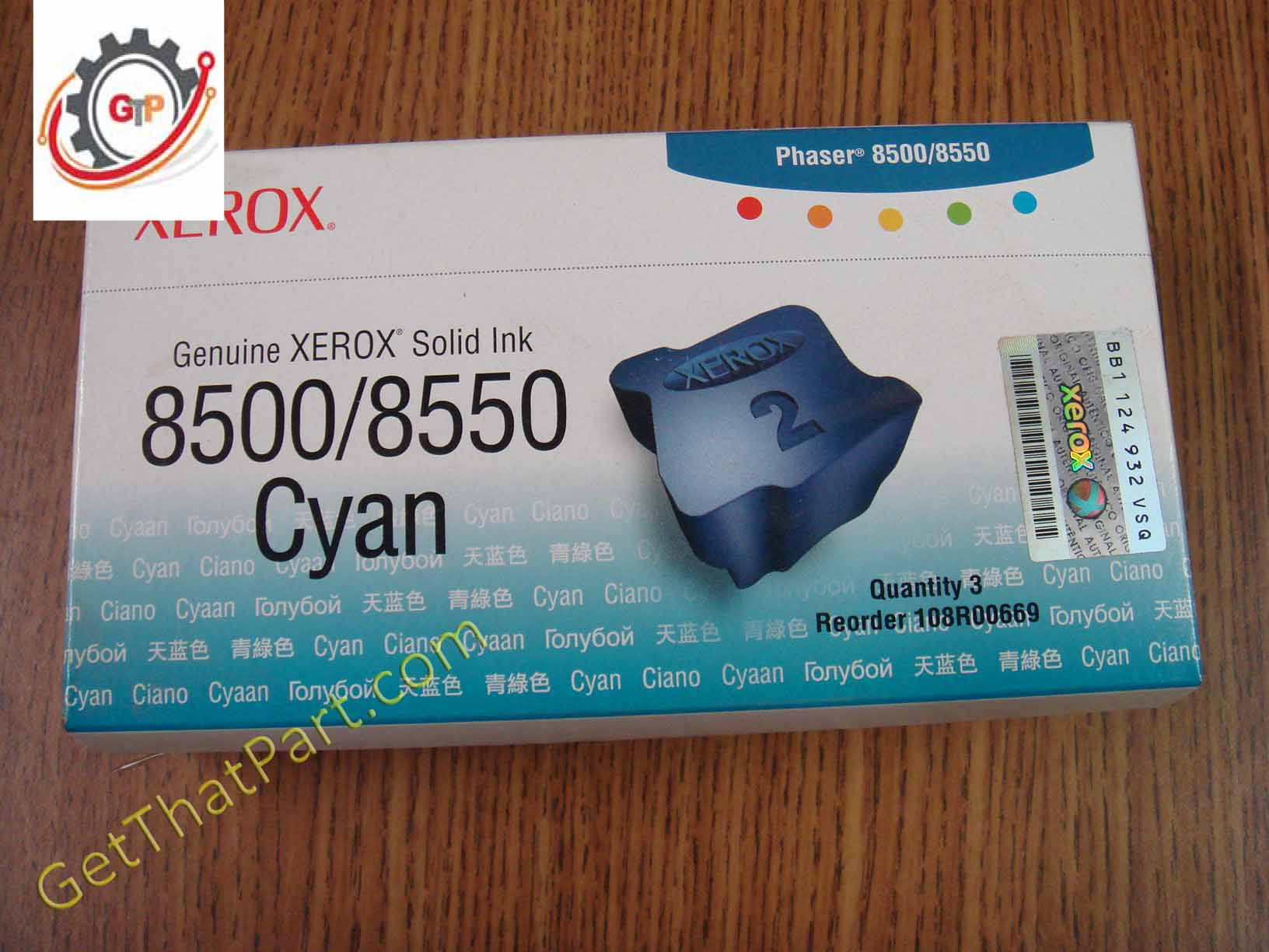 Genuine Xerox 108R00669 Cyan Solid Ink for Phaser 8500//8550 Box Of 3