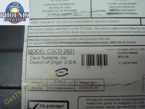 Cisco 2821 V04 256M Gigabit Integrated Services Router No Face