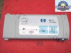 HP 5000 81 Light Cyan OEM Genuine Dye Ink Cartridge C4934A