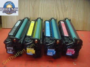 HP cp3525 Genuine Oem CMYB Toner Drum Cartridge 4 Set CE250A-Set